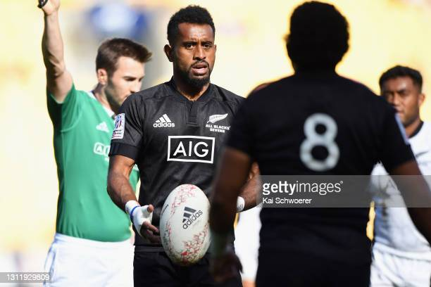 Akuila Rokolisoa looks on during the match between the All Blacks Sevens Black and All Blacks Sevens White at Sky Stadium, on April 11 in Wellington,...
