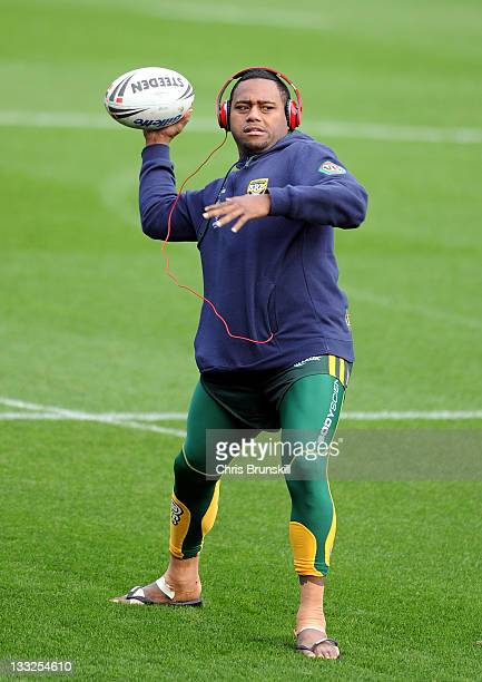 Akuila Uate of Australia in action during the VB Kangaroos Captain's Run ahead of the Gillette Four Nations final between England and Australia at...