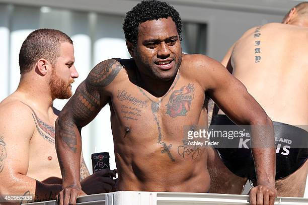Akuila Uate of the Knights cools down in an ice bath during a Newcastle Knights NRL training session on July 31 2014 in Newcastle Australia