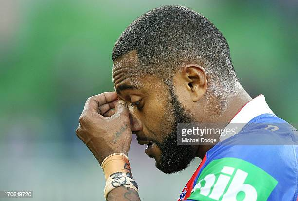 Akuila Uate of the Knights reacts after the final whistle during the round 14 NRL match between the Melbourne Storm and the Newcastle Knights at AAMI...