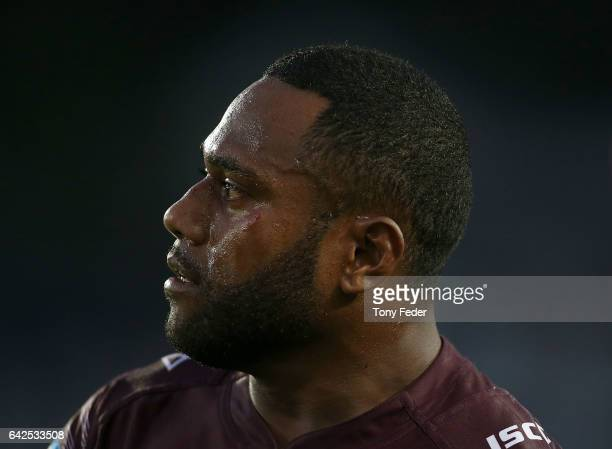 Akuila Uate of the Sea Eagles during the NRL Trial match between the Manly Warringah Sea Eagles and Sydney Roosters at Central Coast Stadium on...