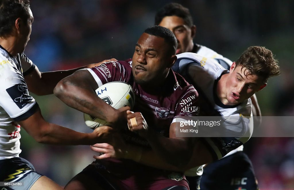 Akuila Uate of the Sea Eagles is tackled during the round 13 NRL match between the Manly Sea Eagles and the North Queensland Cowboys at Lottoland on May 31, 2018 in Sydney, Australia.