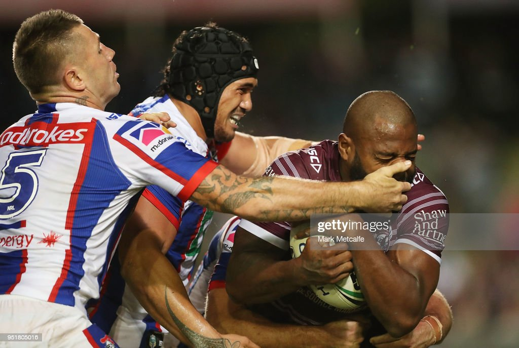 Akuila Uate of the Sea Eagles is tackled during the Round eight NRL match between the Manly-Warringah Sea Eagles and the Newcastle Knights at Lottoland on April 27, 2018 in Sydney, Australia.