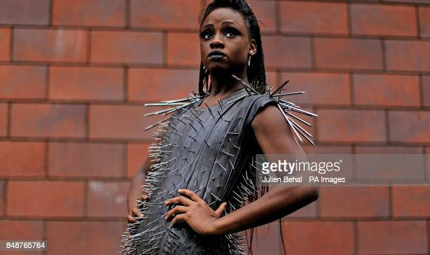 Akuoma Ikwukeme from St Mary's in Dundalk in an outfit made from nails and Bicycle tyre tubes at a photocall in Our Lady's School in Terenure Dublin...