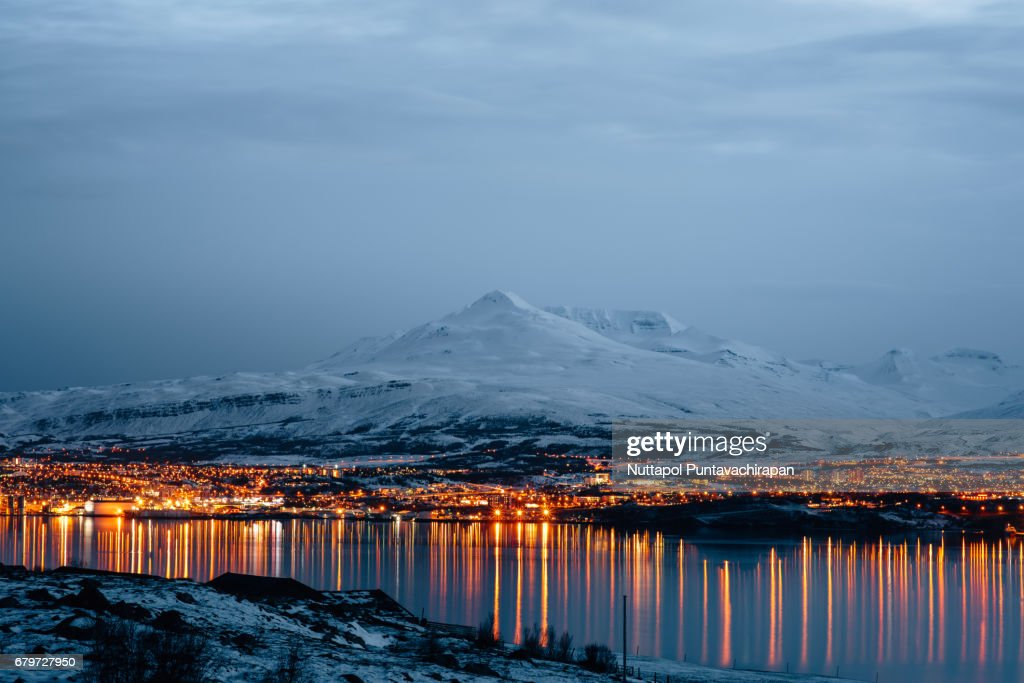 Akureyri City View at Sunset in North of Iceland : Stock-Foto