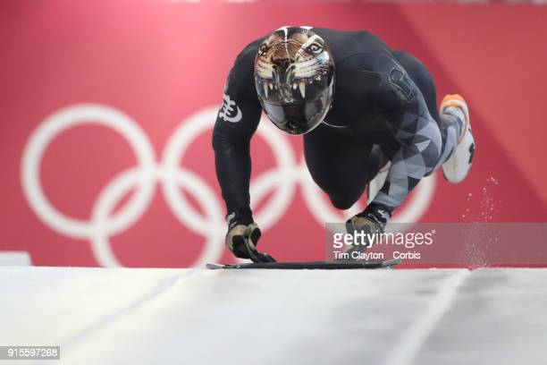 Akwasi Frimpong of Ghana in action during the Men's Skeleton training run ahead of the PyeongChang 2018 Winter Olympic Games at Olympic Sliding...