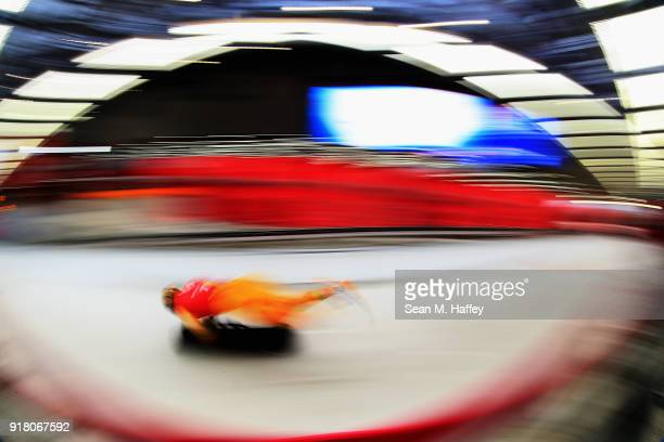 Akwasi Frimpong of Ghana makes a run during a Men's Skeleton training session on day five of the PyeongChang 2018 Winter Olympics at the Olympic...