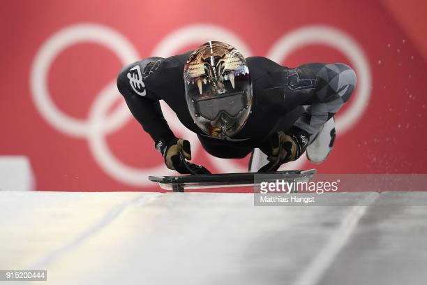 Akwasi Frimpong of Ghana practices during Men's Skeleton training ahead of the PyeongChang 2018 Winter Olympic Games at the Olympic Sliding Centre on...