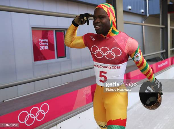 Akwasi Frimpong of Ghana reacts in the finish area during the Men's Skeleton heats at Olympic Sliding Centre on February 16 2018 in Pyeongchanggun...