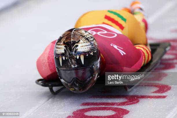 Akwasi Frimpong of Ghana slides during the Men's Skeleton heats on day six of the PyeongChang 2018 Winter Olympic Games at the Olympic Sliding Centre...