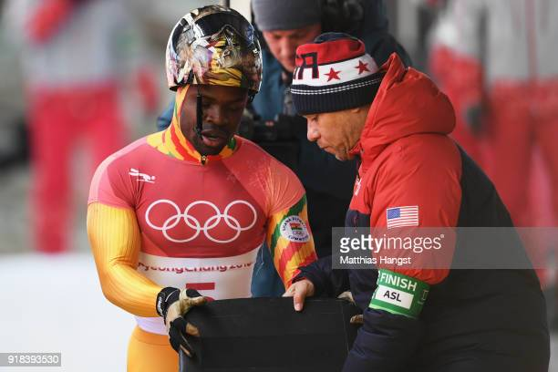 Akwasi Frimpong of Ghana slides into the finish area during the Men's Skeleton heats on day six of the PyeongChang 2018 Winter Olympic Games at the...