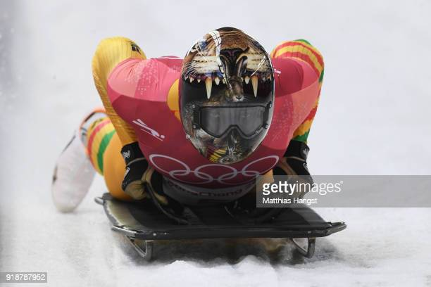 Akwasi Frimpong of Ghana slides into the finish area during the Men's Skeleton heats at Olympic Sliding Centre on February 16 2018 in Pyeongchanggun...