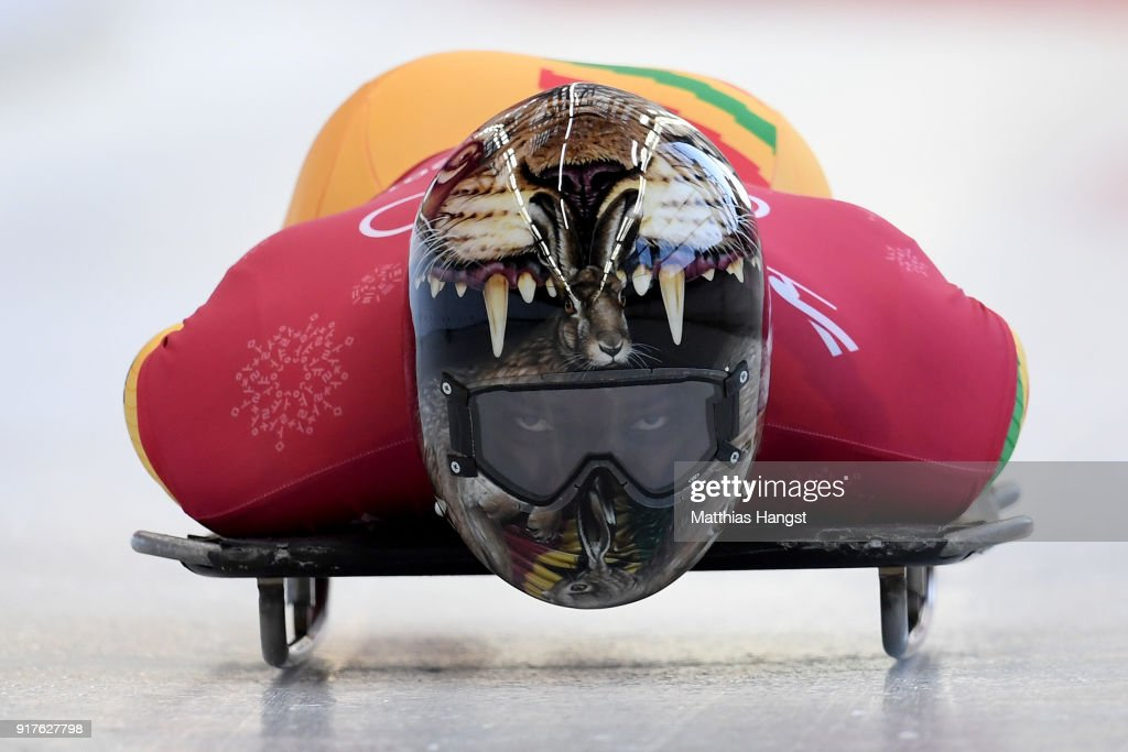 Akwasi Frimpong of Ghana trains during the Mens Skeleton training session on day four of the PyeongChang 2018 Winter Olympic Games at Olympic Sliding Centre on February 13, 2018 in Pyeongchang-gun, South Korea.