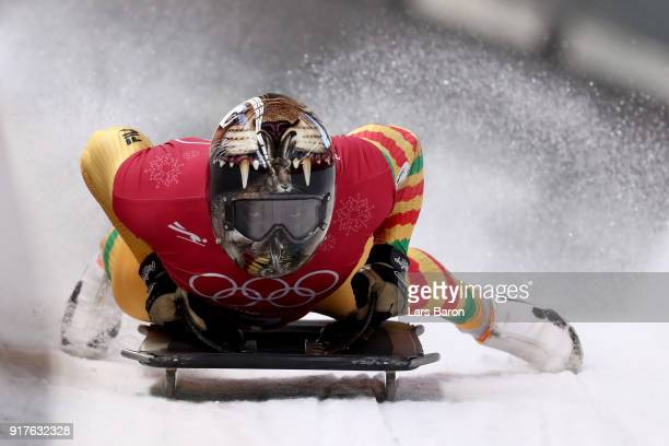 Akwasi Frimpong of Ghana trains during the Mens Skeleton training session on day four of the PyeongChang 2018 Winter Olympic Games at Olympic Sliding...