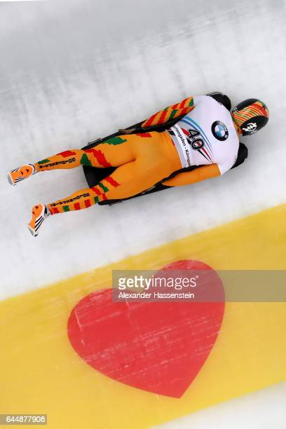 Akwasi Frimpong ogf Ghana competes in the first run of the IBSF World Championships Bob Skeleton 2017 at Deutsche Post Eisarena Koenigssee on...