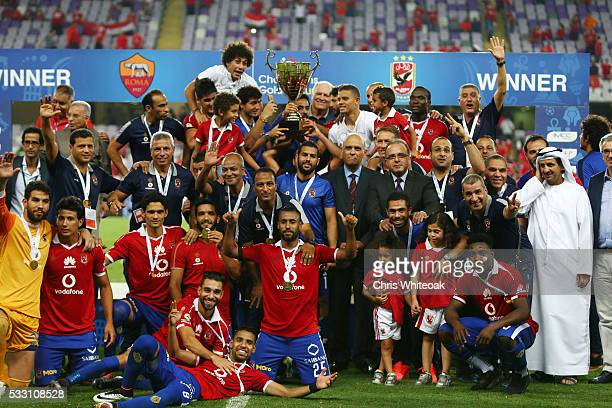 Al Ahly celebrates winning the trophy during the international friendly match between AS Roma and Al Ahly on May 20 2016 in Al Ain United Arab...