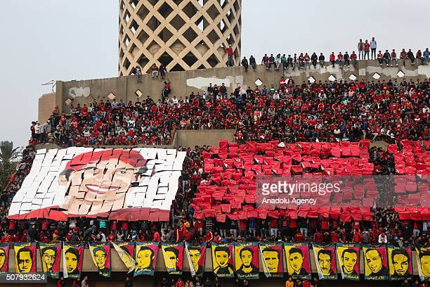Al Ahly football team fans commemorate the Port Said Stadium riot victims at Mokhtar Altitch Stadium in Cairo Egypt on February 1 2016 72 people were...