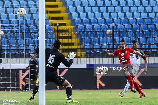 Al Ahly's Basem Ali scoers a goal during the Egypt Primer League Fixtures 20 Match Between AlAhly and AlRajaa in Alexandria Stadium on 25 January...