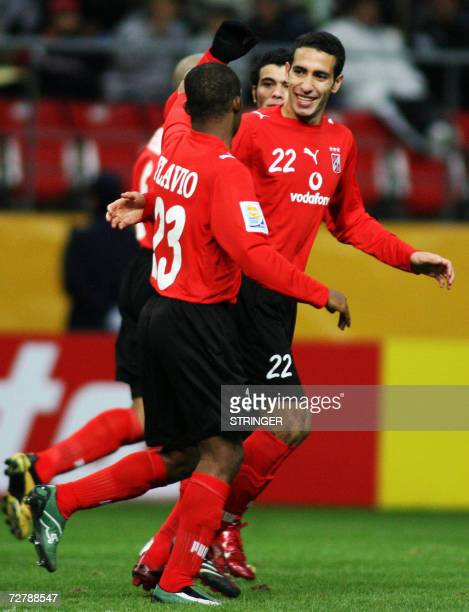 Al Ahly's forward Mohamed Aboutrika celebrates the first team's goal of Flavio during the first round match in the FIFA Club World Cup in Toyota...