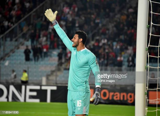 Al ahly's goal keeper Cherif Ikramy in action during the CAF Champions League 2019 20 football match between AlAhly and Etoile sportive du sahel in...