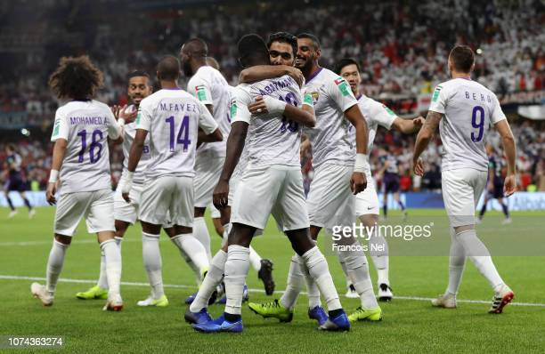 Al Ain players celebrate after Marcus Berg scores their first goal during the FIFA Club World Cup UAE 2018 Semi Final Match between River Plate and...