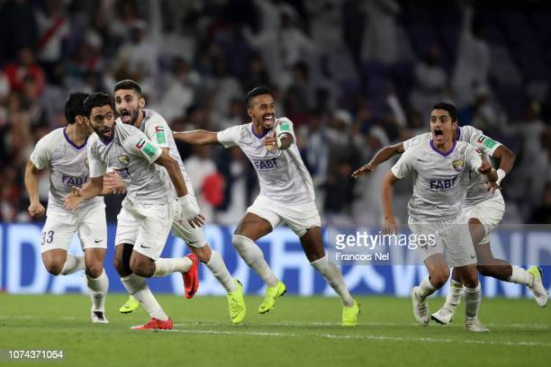 Al Ain players celebrates after winning the penalty shootout during the FIFA Club World Cup UAE 2018 Semi Final Match between River Plate and Al Ain...