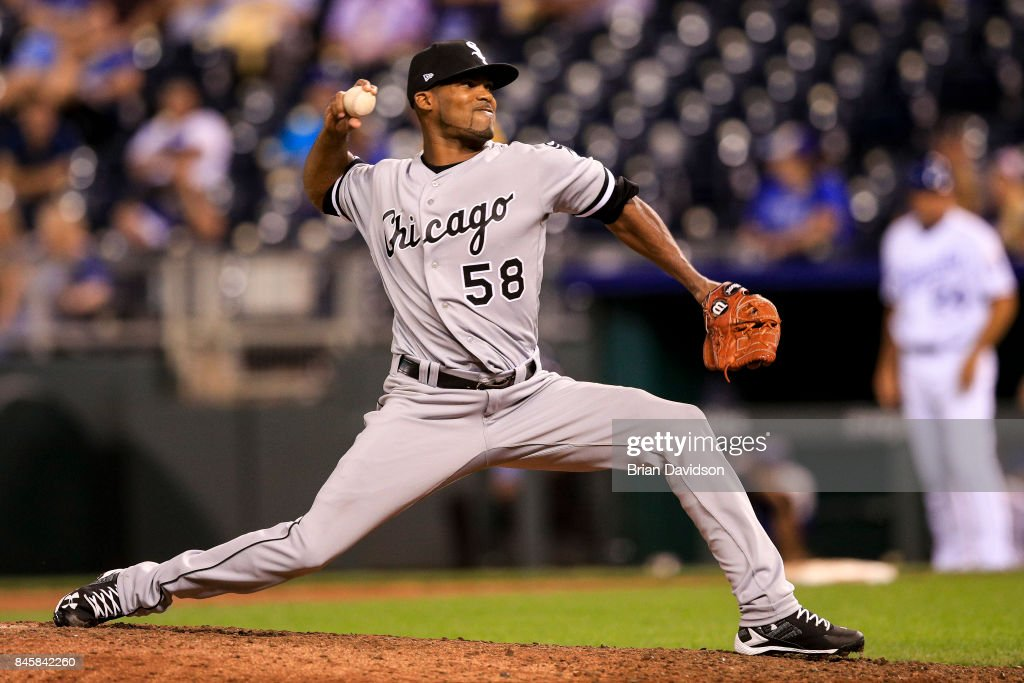 Al Alburquerque #58 of the Chicago White Sox pitches against the Kansas City Royals during the ninth inning at Kauffman Stadium on September 11, 2017 in Kansas City, Missouri.
