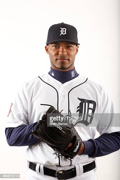 Al Alburquerque of the Detroit Tigers poses for a photo during the Tigers' photo day on February 28 2015 at Joker Marchant Stadium in Lakeland Florida