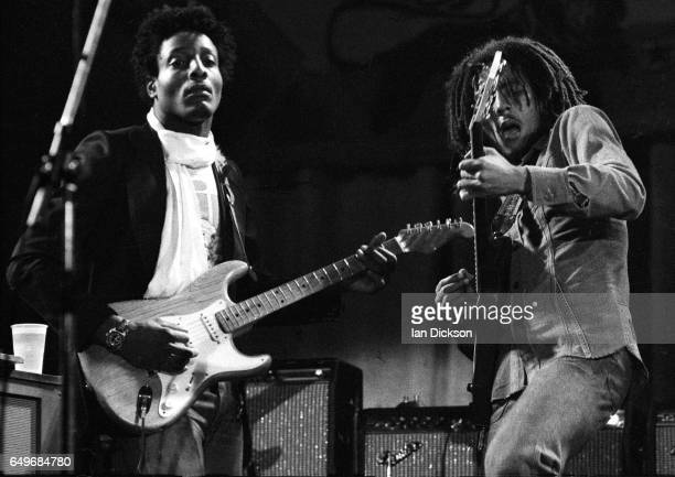 Al Anderson and Bob Marley of The Wailers perform on stage at the Odeon Birmingham United Kingdom 18 July 1975