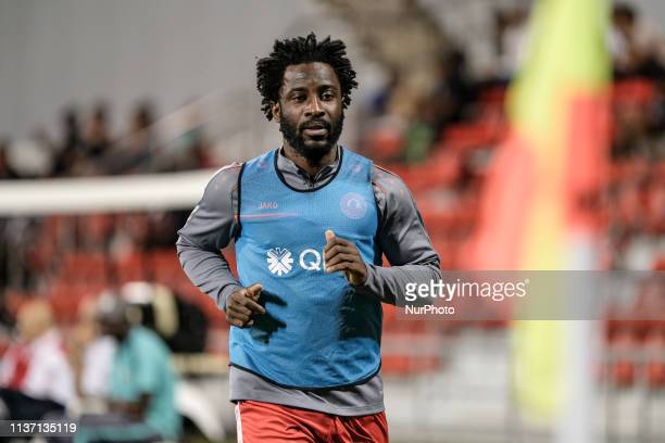 Al Arabi and Ivory Coast striker Wilfried Bony warms up before coming on in Al Arabi's 0-3 defeat to Al Duhail at the Grand Hamad Stadium, Doha,...
