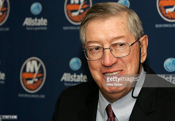 Al Arbour of the New York Islanders speaks to the media after coaching his his 1500th game as an Islander and defeating the Pittsburgh Penguins 32 on...