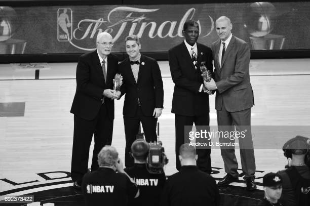 Al Attles and Hubie Brown receive the Chuck Daly Lifetime Achievement Award given by Dallas Mavericks coach Rick Carlisle before Game Two of the 2017...