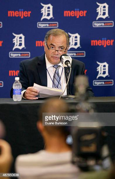 Al Avila addresses a news conference at Comerica Park after he was promoted to executive vice president of baseball operations and general manager on...