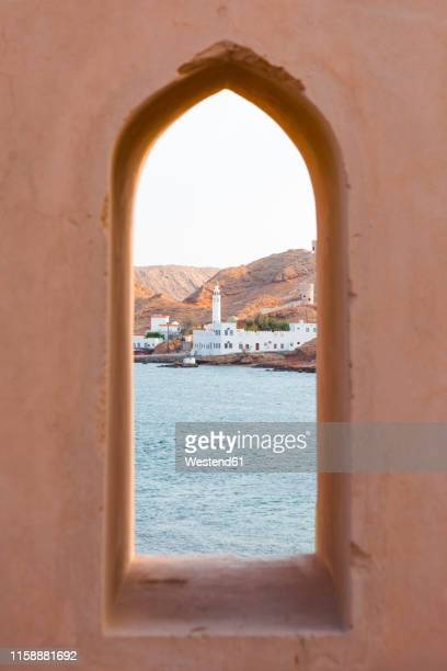 al ayjah mosque seen from al ayjah lighthouse, sur, oman - oman stock pictures, royalty-free photos & images