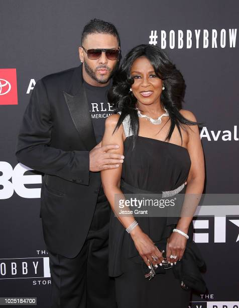 Al B Sure and Angela Winbush attend the premiere screening of 'The Bobby Brown Story' presented by BET and Toyota at the Paramount Theatre on August...