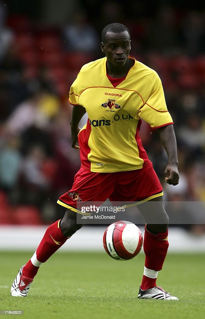 Al Bangura of Watford in action during the pre-season match between Watford and Chievo Verona at Vicarage Road on August 13, 2006 in Watford, England.