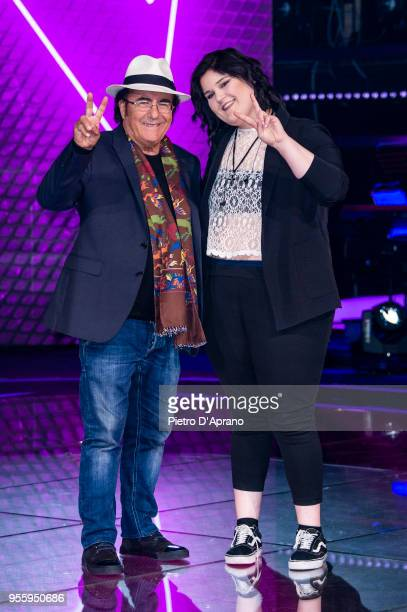 Al Bano Carrisi and Maryam Tancredi attends 'The Voice Of Italy' final photocall on May 8 2018 in Milan Italy