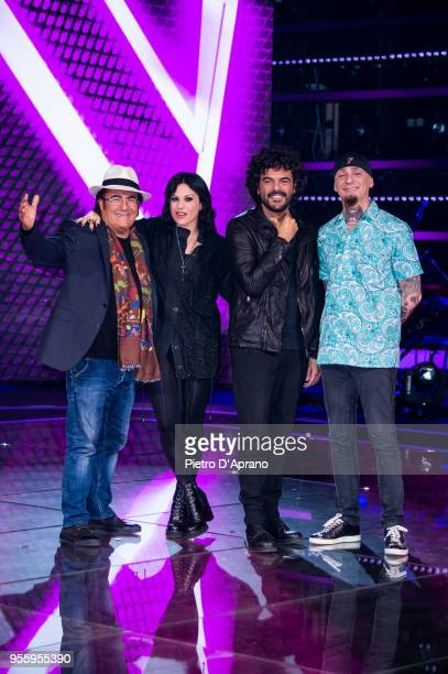 Al Bano Carrisi Cristina Scabbia Francesco Renga JAx attends 'The Voice Of Italy' final photocall on May 8 2018 in Milan Italy