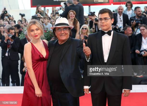 Al Bano Carrisi his daughter Jasmine Carrisi and his son Al Bano Jr Carrisi walks the red carpet ahead of the 'Vox Lux' screening during the 75th...