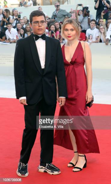 Al Bano Jr Carrisi and Jasmine Carrisi walk the red carpet ahead of the 'Vox Lux' screening during the 75th Venice Film Festival at Sala Grande on...