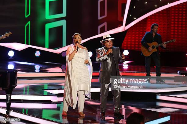 Al Bano Power and Romina Power perform on stage at the television show 'Willkommen bei Carmen Nebel' at Velodrom on September 19 2015 in Berlin...