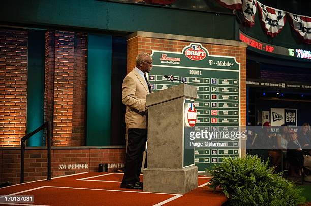 Al Bumbry is seen during the 2013 FirstYear Player Draft at MLB Network's Studio 42 on June 6 2013 in Secaucus New Jersey
