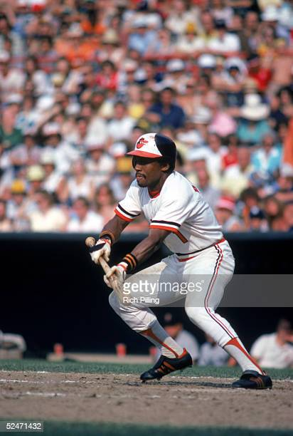 Al Bumbry of the Baltimore Orioles attempts to bunt during a game in 1980 at Oriole Park in Baltimore Maryland