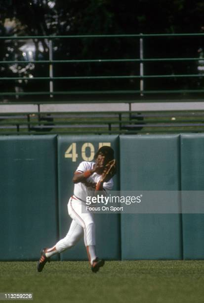 Al Bumbry of the Baltimore Orioles catches a fly ball during a Major League Baseball game circa 1982 at Memorial Stadium in Baltimore Maryland Bumbry...