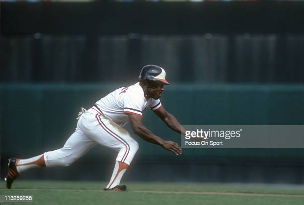 Al Bumbry of the Baltimore Orioles catches a fly ball during a Major League Baseball game circa 1980 at Memorial Stadium in Baltimore Maryland Bumbry...