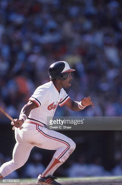 Al Bumbry of the Baltimore Orioles circa 1983 bats at Memorial Stadium in Baltimore Maryland