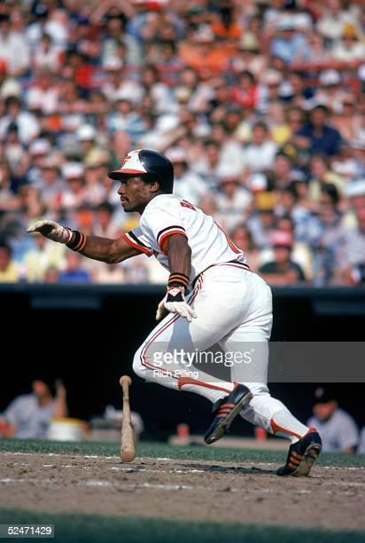 Al Bumbry of the Baltimore Orioles drops his bat as he runs out of the batters box to first base during a game in 1980 at Oriole Park in Baltimore...