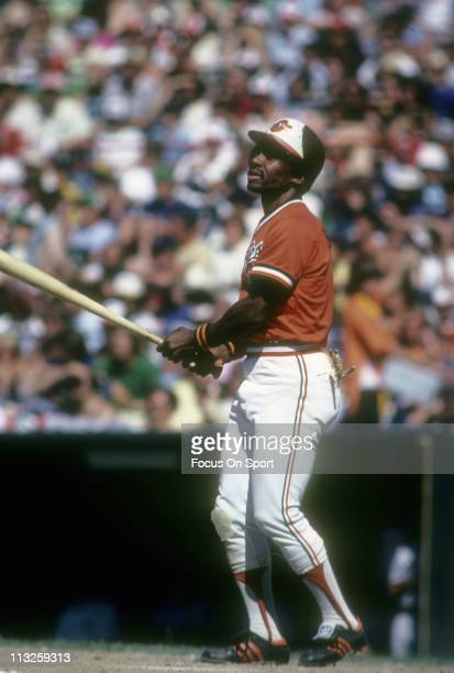 Al Bumbry of the Baltimore Orioles fouls a pitch off during a Major League Baseball game circa 1982 at Memorial Stadium in Baltimore Maryland Bumbry...