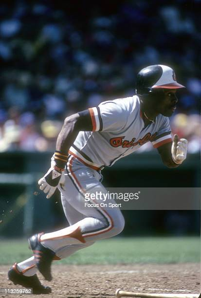 Al Bumbry of the Baltimore Orioles puts the ball in play and races towards first base during a Major League Baseball game circa 1975 Bumbry played...
