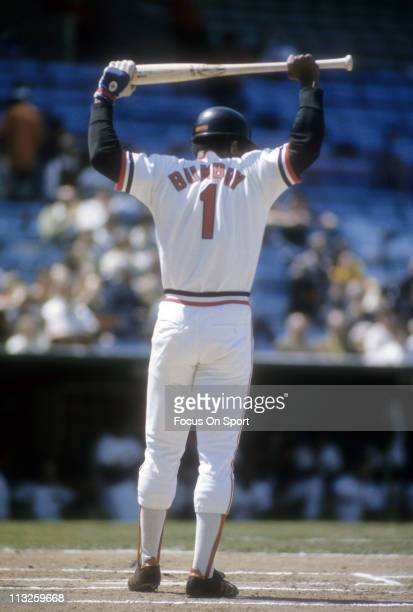 Al Bumbry of the Baltimore Orioles stretches before stepping into the batters box during a Major League Baseball game circa 1974 at Memorial Stadium...